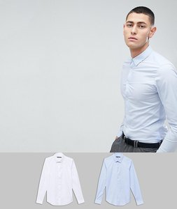 Read more about French connection 2 pack slim fit shirts - white blue