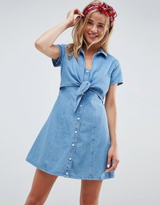 Read more about Asos design denim dress with tie front - blue