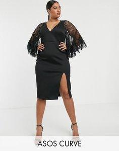 Read more about Asos design curve faux feather cape midi dress