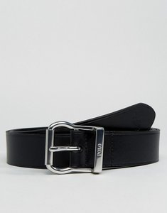 Read more about Polo ralph lauren leather belt logo buckle in black - black