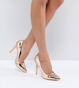 Read more about Truffle collection wide fit heel court shoe heels - rose gold