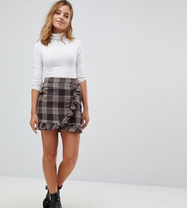 Read more about Parisian petite check mini skirt with ruffle detail - grey
