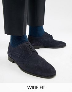 Read more about Kg by kurt geiger wide fit brogues in navy suede - blue