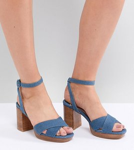 Read more about Faith wide fit denim stacked heeled sandals - denim