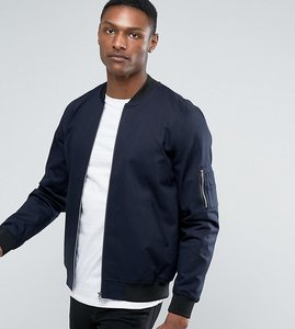 Read more about Asos design tall bomber jacket with sleeve zip in navy - navy