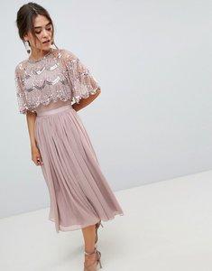Read more about Asos design scallop hem embellished crop top midi dress - dusty mauve
