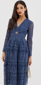 Read more about Asos design lace long sleeve prom dress with cut out