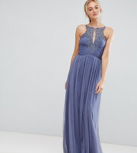 Read more about Little mistress tall floral applique maxi dress - lavender grey