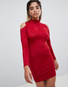 Read more about Ax paris cold shoulder long sleeve bodycon dress - red