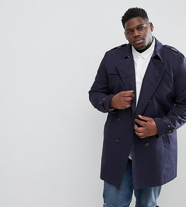 Read more about Asos plus shower resistant double breasted trench in navy - navy