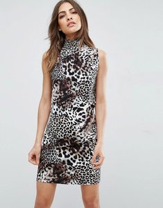 Read more about Asos mini shift dress with shirred neck in leopard print - leopard print