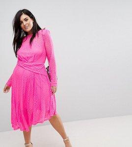 Read more about Asos curve neon lace asymmetric hem midi dress - pink