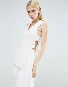 Read more about Lavish alice cross back belted knitted tunic - white