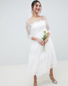 Read more about Asos edition lace long sleeve midi prom wedding dress - white