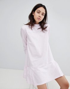Read more about Mads norgaard drop waist gingham dress - 2300 rose white