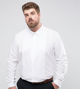 Read more about Burton menswear plus slim smart shirt with bib - white