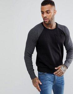 Read more about Brave soul textured raglan pocket sweatshirt - black