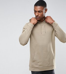 Read more about Asos tall longline hoodie in beige - tawny