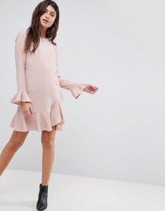 Read more about Asos fluted sleeve ruffle hem mini dress - nude