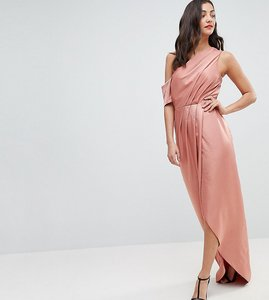 Read more about Asos tall hammered satin one shoulder maxi dress - rose gold