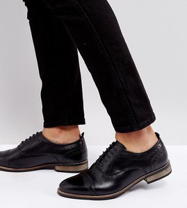 Read more about Asos wide fit brogue shoes in black leather with natural sole - black