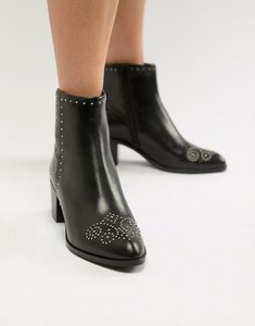 Read more about Dune london queenies black leather studded mid heel ankle boots - black leather