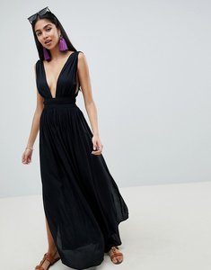 Read more about Asos design grecian plunge maxi woven beach dress - black
