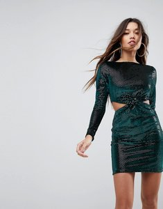 Read more about Asos twist front cut out glitter velvet mini dress - green