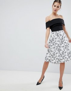 Read more about Vesper 2-in-1 printed skater dress - mono floral