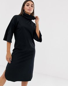 Read more about Asos design high neck midi swing dress with trumpet sleeves