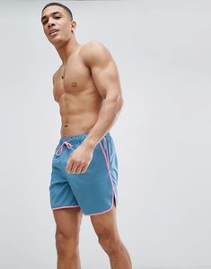 Read more about Asos runner swim shorts in blue with pink binding in mid length - blue