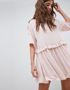 Read more about Asos design mini smock dress with frill waist - pink