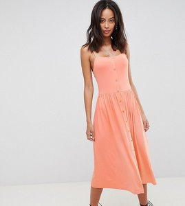 Read more about Asos design tall square neck midi button front smock dress - coral