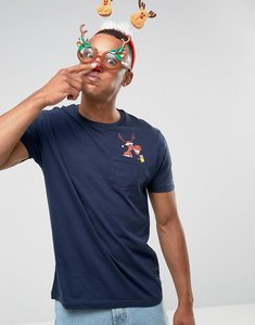 Read more about Brave soul christmas pocket t-shirt - navy