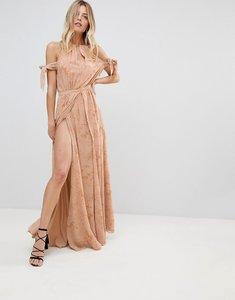 Read more about The jetset diaries sierra lace thigh split cold shoulder maxi dress - floral