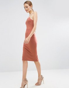 Read more about Asos scuba deep plunge midi bodycon dress - nude