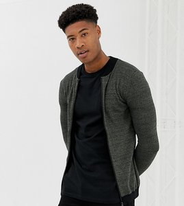 Read more about Asos tall knitted muscle fit bomber jacket in khaki twist - khaki