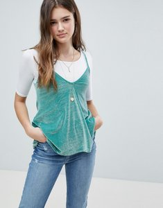 Read more about Glamorous velvet cami top with t-shirt layer - aqua velvet