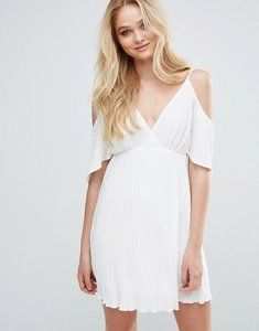 Read more about Love pleated cold shoulder dress - ivory