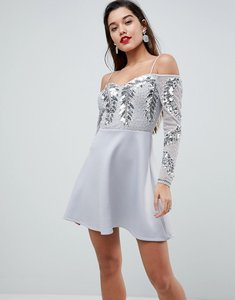 Read more about Asos embellished cold shoulder skater mini dress - silver