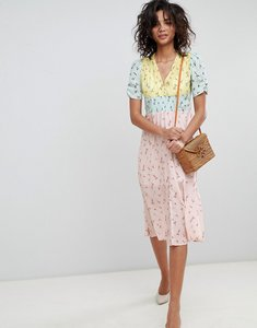 Read more about Asos design midi mixed print pretty tea dress - multi