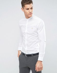 Read more about Farah slim smart grandad shirt - white