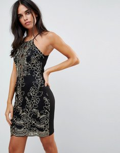 Read more about Parisian embroidered metallic dress - black gold