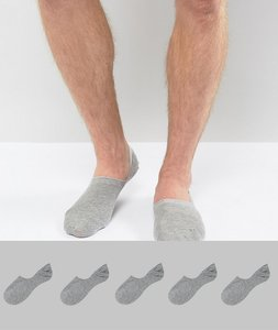 Read more about Asos invisible socks in grey 5 pack save - grey
