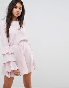 Read more about Ivyrevel long sleeve mini dress with ruffle sleeves - rose