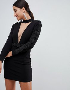Read more about Forever unique embellished mini dress with plunge - black