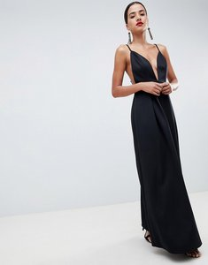c37d15a2bcd Read more about Asos design strappy plunge maxi prom dress with open back -  black