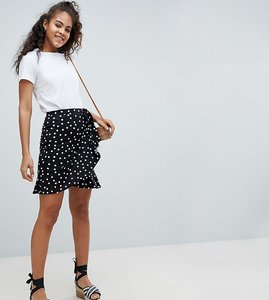 Read more about Asos design tall mini wrap skirt in polka dot print - mono