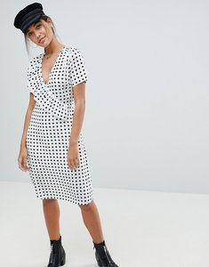 Read more about Missguided polka dot midi dress - white