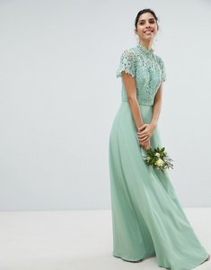 Read more about Chi chi london 2 in 1 high neck maxi dress with crochet lace - green lily